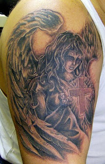 Black ink Tattoo of Angel with Cross on Arms