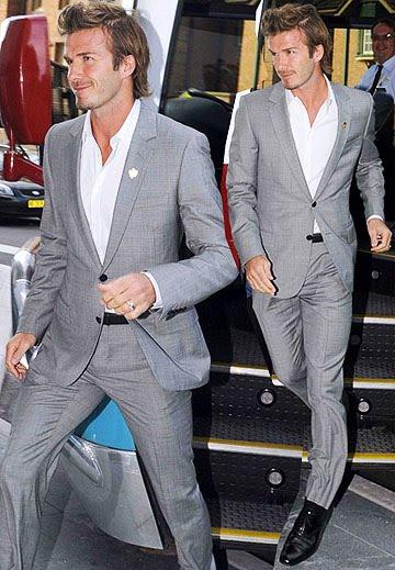 David beckham grey suit world cup