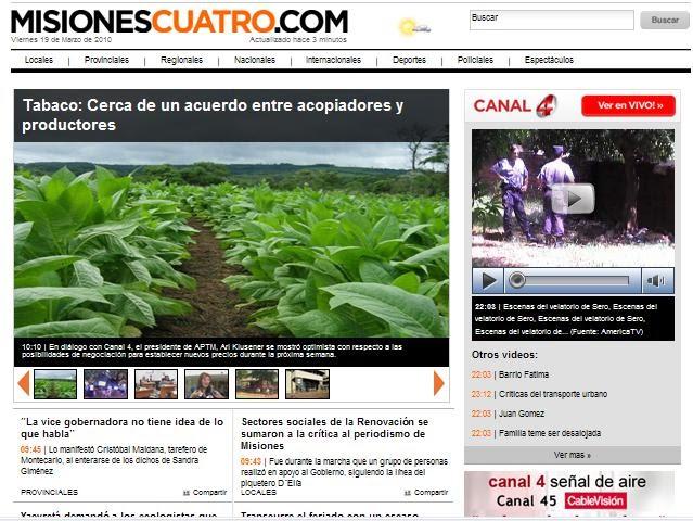 La web de noticias misiones cuatro tiene nuevo formato Portal de noticias del espectaculo