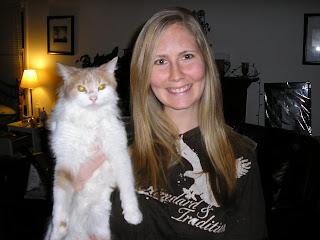 Blog author, Jenn Spencer, with cat, Chandler