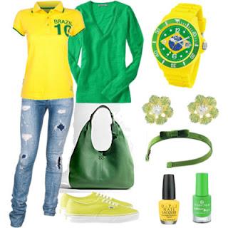 Vestida de verde e amarelo