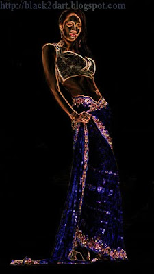Model posing in Blue designer Saree