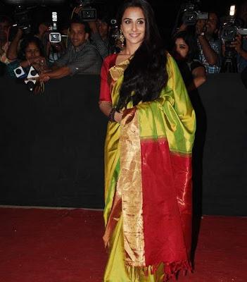bollywood actress vidya balan in silk saree