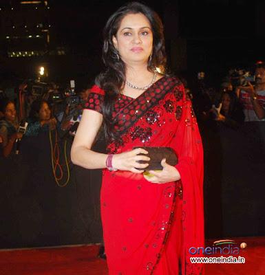 Padmini Kolhapuri in Red colour Designer saree