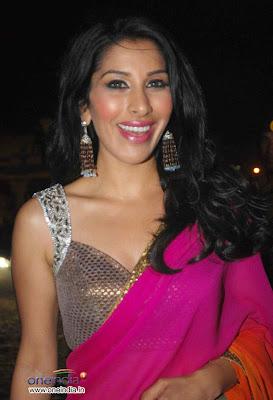 Sophie Choudry in pink designer saree