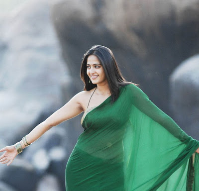 Anushka in Green saree with noodle strap blouse design