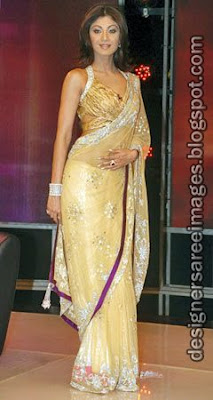 Shilpa Shetty in Gold colour Designer Saree