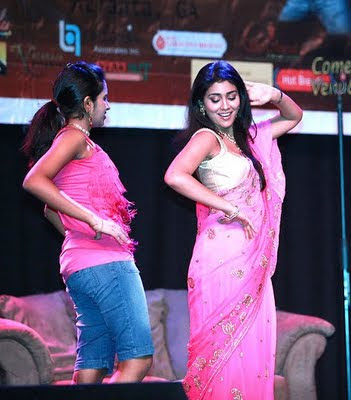 Shriya Saran In pink designer saree