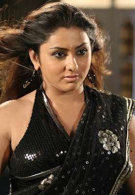 South Indian Actress in Black Saree Photos Namitha