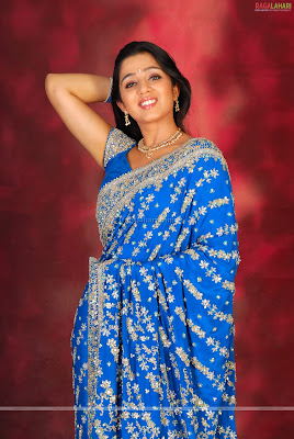 Charmi in Blue Saree  http://chudidaar.blogspot.com/