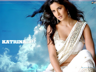 Bollywood actress katrina Kaif in white designer saree