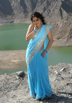 Farzana in Blue Saree  http://designersareeimages.blogspot.com/