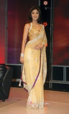 Shilpa Shetty in golden colour designer saree