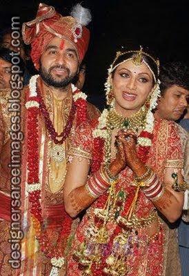 Shilpa Shetty and Raj Kundra Wedding Pictures | Shilpa Shetty in Bridal Saree