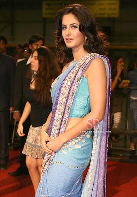 Katrina kaif in Blue Designer Saree