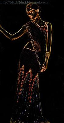 kundan work embroidery saree
