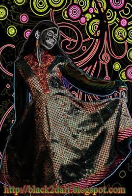 Photoshop glowing edges art of Indian female model