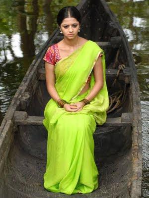 South Actress Vedika in plain green saree