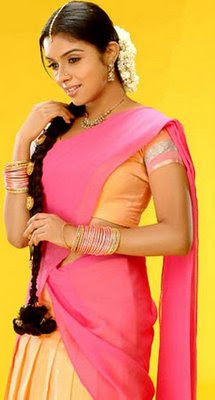 asin in pink half saree