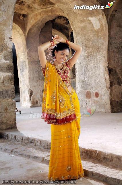 Sunaina in Red and Yellow Designer Saree - Tamil Film Yathumagi