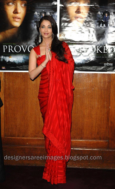 Aishwarya Rai in Red Designer Saree with Designer Sari Blouse photo