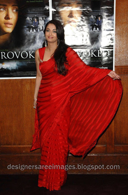 Aishwarya Rai in Red Designer Saree with Designer Sari Blouse picture