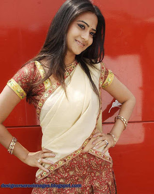 Actress Aditi Sharma poses in Designer Half Sari