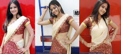 Actress Aditi Sharma poses in Designer Half Sari