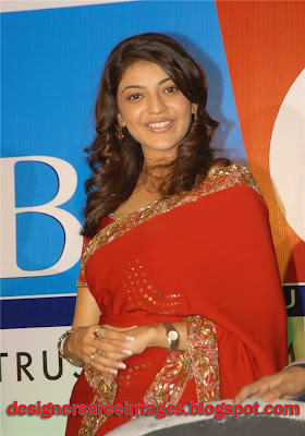 Actress Kajal Agarwal in Red Designer Saree photo