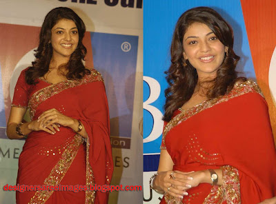 Actress Kajal Agarwal in Red Designer Saree image