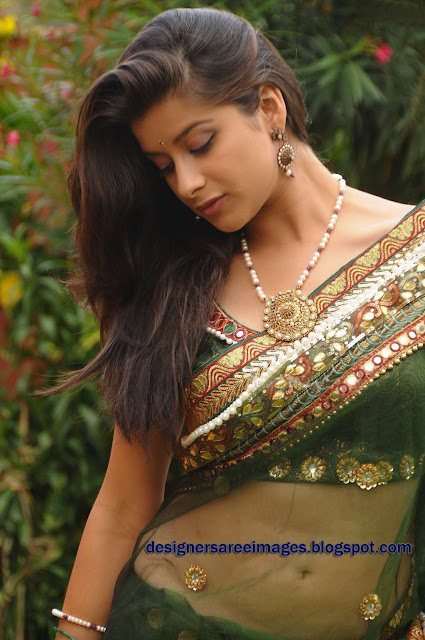Actress Madhurima in Transparent Green Saree photo