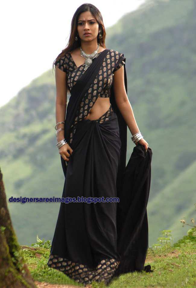Tollywood Actress Aditi Sharma in Black Designer Saree