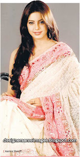 Aamna Sharif Looks Gorgeous in white designer saree with light pink border