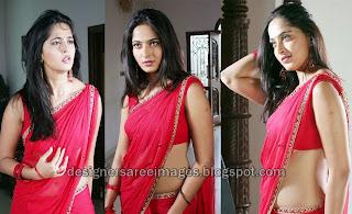 Actress Anushka Shetty Hot in Red Saree