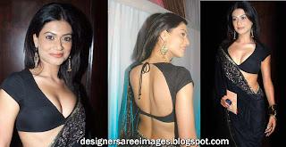 Actress Payal rohatgi in Black Designer Saree paired with Designer Sari Blouse