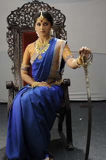 Actress Anushka Shetty in Blue Saree from Arundhati Movie