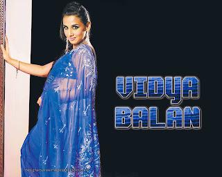 Vidya Balan in Blue Transparent Saree