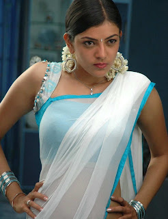 Kajal Agarwal in White Saree paired with Sleeveless Designer Blouse