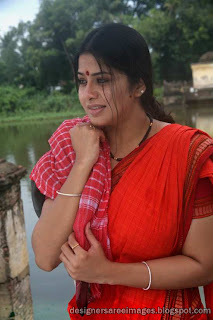 Actress Sangeetha in Red Saree Pictures