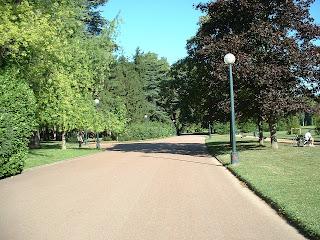 Allée complètement vide du parc de la tête d'or