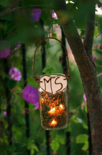 Upcycled Personalized Wood Glass Jar Outdoor Rustic Wedding Decoration