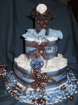Blue/Brown Med size Diaper Cake