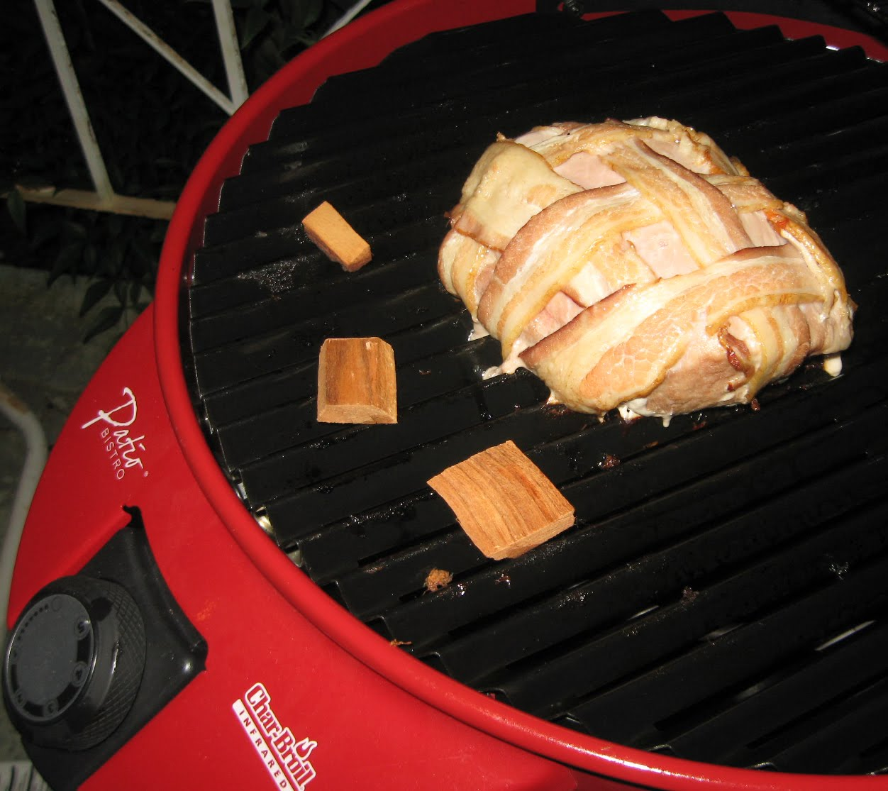 I Did A Bacon Weave On The Pork Loin And Then Heated Up The Char Broil  Bistro. Then I Had A Brain Fart And Unplugged It For Some Reason.