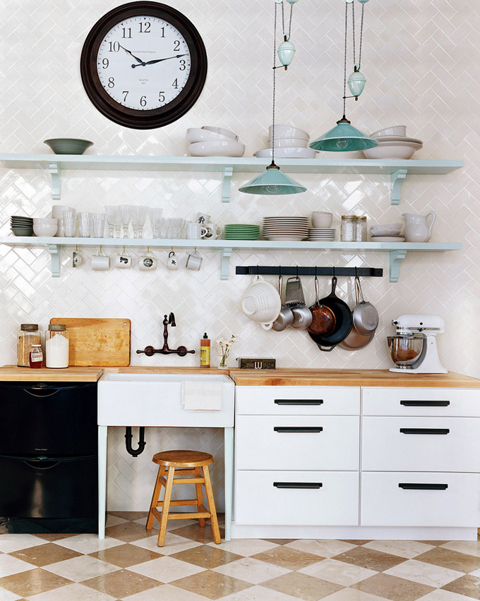 inside out design kitchen inspiration herringbone backsplash