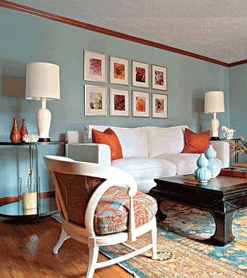 Northern adventures aqua and terra cotta for Terracotta living room ideas