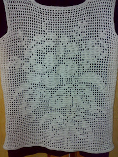 white filet crochet pullover
