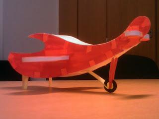 Avion Bois Decoration Rouge