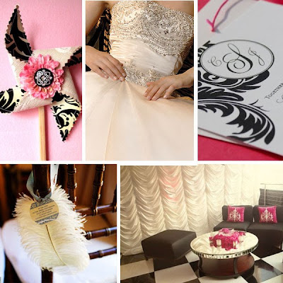 Black Fuchsia Damask Wedding Inspiration