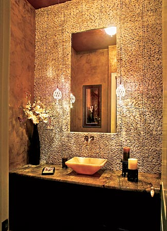 the granite gurus: beautiful powder bath ideas