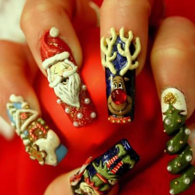 christmas nail art design creating
